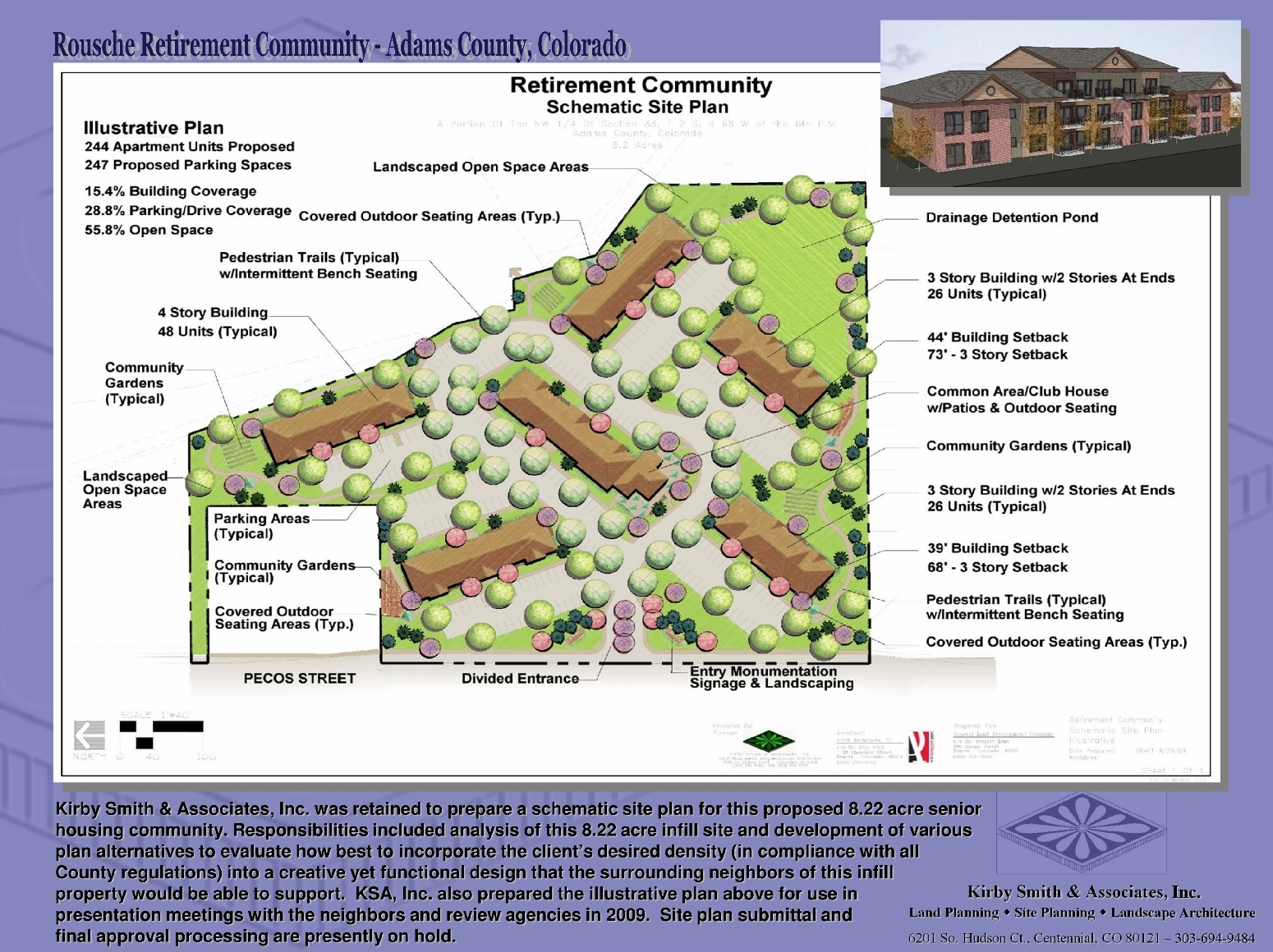 Preparation of a schematic site plan for a proposed senior housing community. Responsibilities included analysis of this 8.22 acre infill site and prepare various plan alternatives to evaluate the client's desired density (in compliance with County regulations) into a creative yet functional design that the adjacent neighbors of this infill property would support.  KSA, Inc. also prepared the illustrative plan above for presentation to neighbors & review agencies.